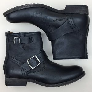 Frye Tyler Engineer Black Buckle Ankle Boots NWOT